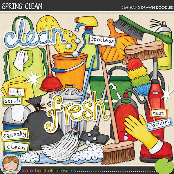 Spring Clean digital scrapbooking elements from Kate Hadfield Designs