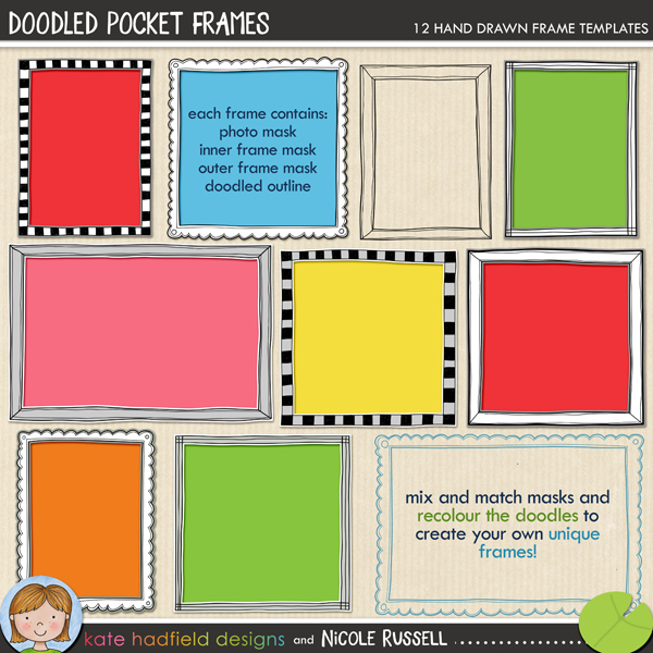 Doodled Pocket Frames by Kate Hadfield and Nicole Russell