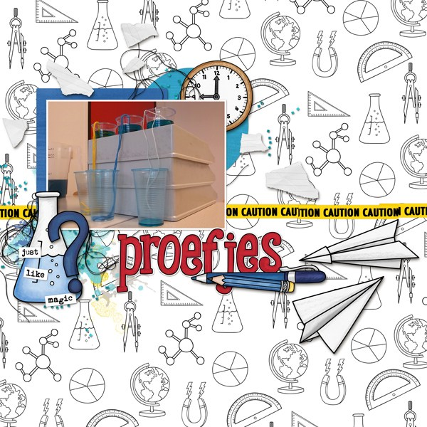 Back to school digital scrapbooking page | school scrapbook layout ideas | Kate Hadfield Designs creative team layout by Berniek