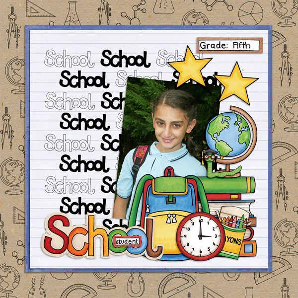 Back to school digital scrapbooking page | school scrapbook layout ideas | Kate Hadfield Designs creative team layout by Kirstie