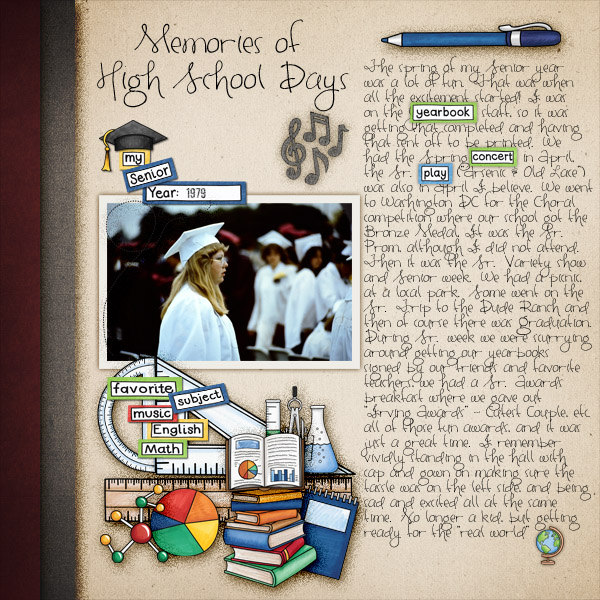 Back to school digital scrapbooking page | school scrapbook layout ideas | Kate Hadfield Designs creative team layout by Christa