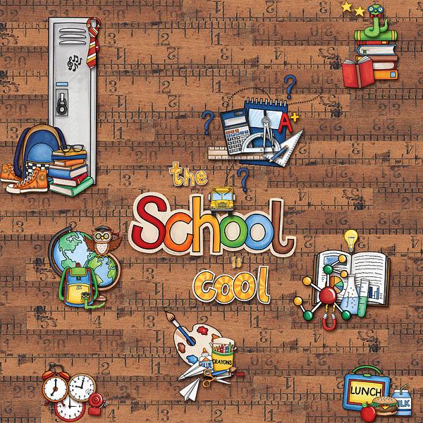 Back to school digital scrapbooking page | school scrapbook layout ideas | Kate Hadfield Designs creative team layout by Cvetana