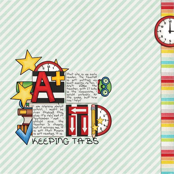 Back to school digital scrapbooking page | school scrapbook layout ideas | Kate Hadfield Designs creative team layout by Dalis
