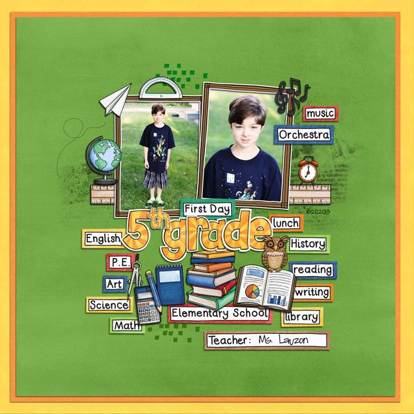 Back to school digital scrapbooking page | school scrapbook layout ideas | Kate Hadfield Designs creative team layout by Keela