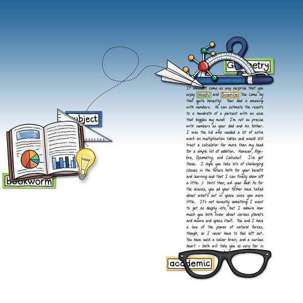 Back to school digital scrapbooking page | school scrapbook layout ideas | Kate Hadfield Designs creative team layout by Leia