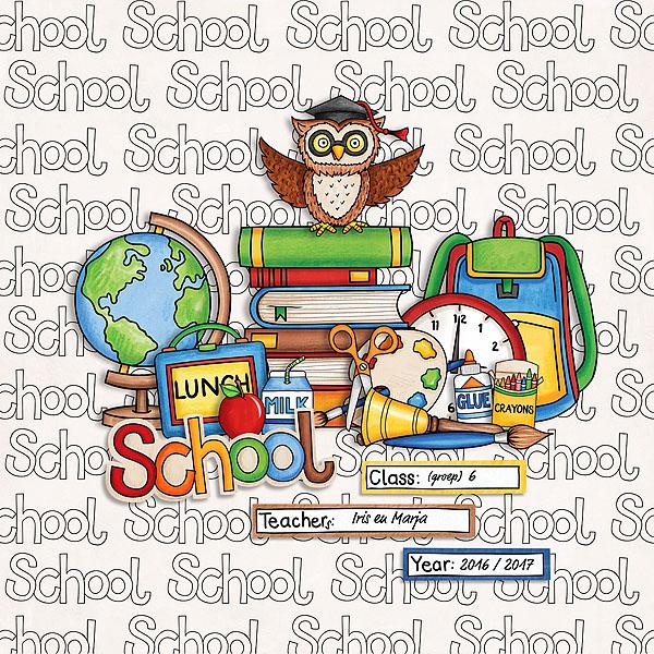 Back to school digital scrapbooking page | school scrapbook layout ideas | Kate Hadfield Designs creative team layout by Natascha