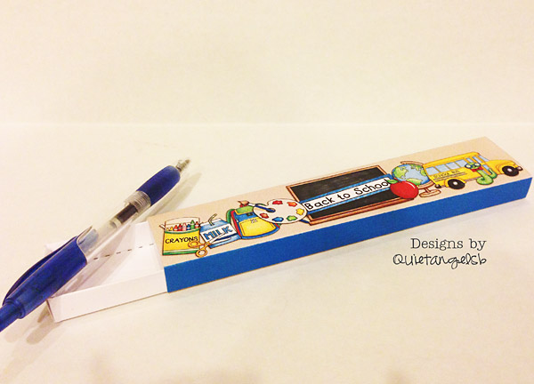 Hybrid craft - back to school pencil case created using digital scrapbook supplies | Kate Hadfield Designs creative team project by Sharon