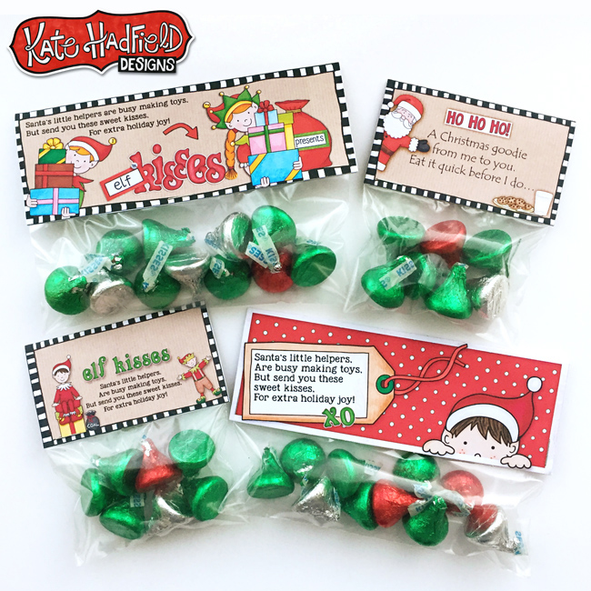 Cute Elf Kisses free printable bag toppers - just print and add to bags of Kisses candy for quick and easy Christmas treats! Perfect for Christmas favours, stocking stuffers and class treats!