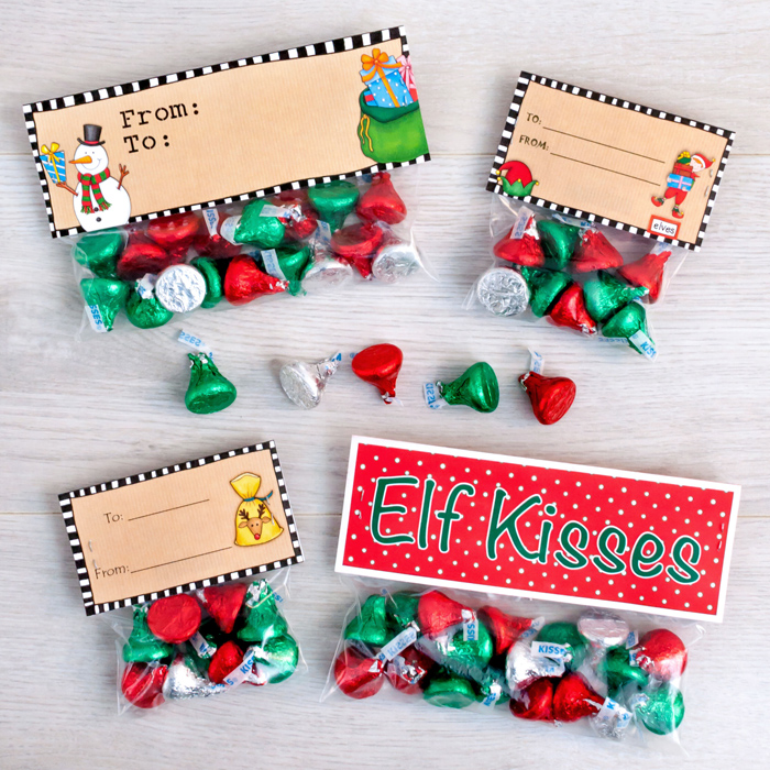 image regarding Elf Kisses Printable known as Cost-free Elf Kisses bag toppers - Kate Hadfield Options
