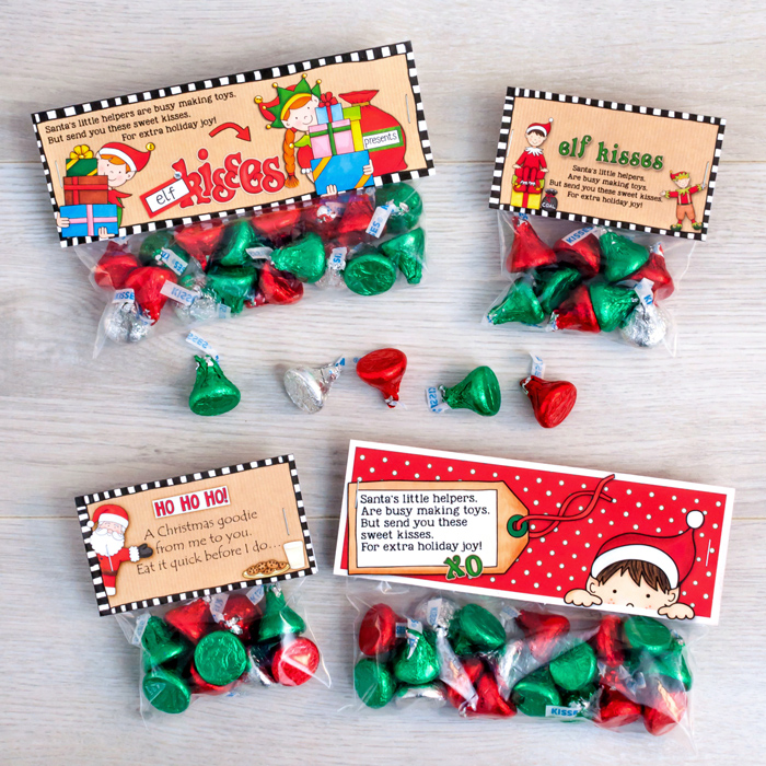 graphic relating to Elf Kisses Printable referred to as Free of charge Elf Kisses bag toppers - Kate Hadfield Layouts