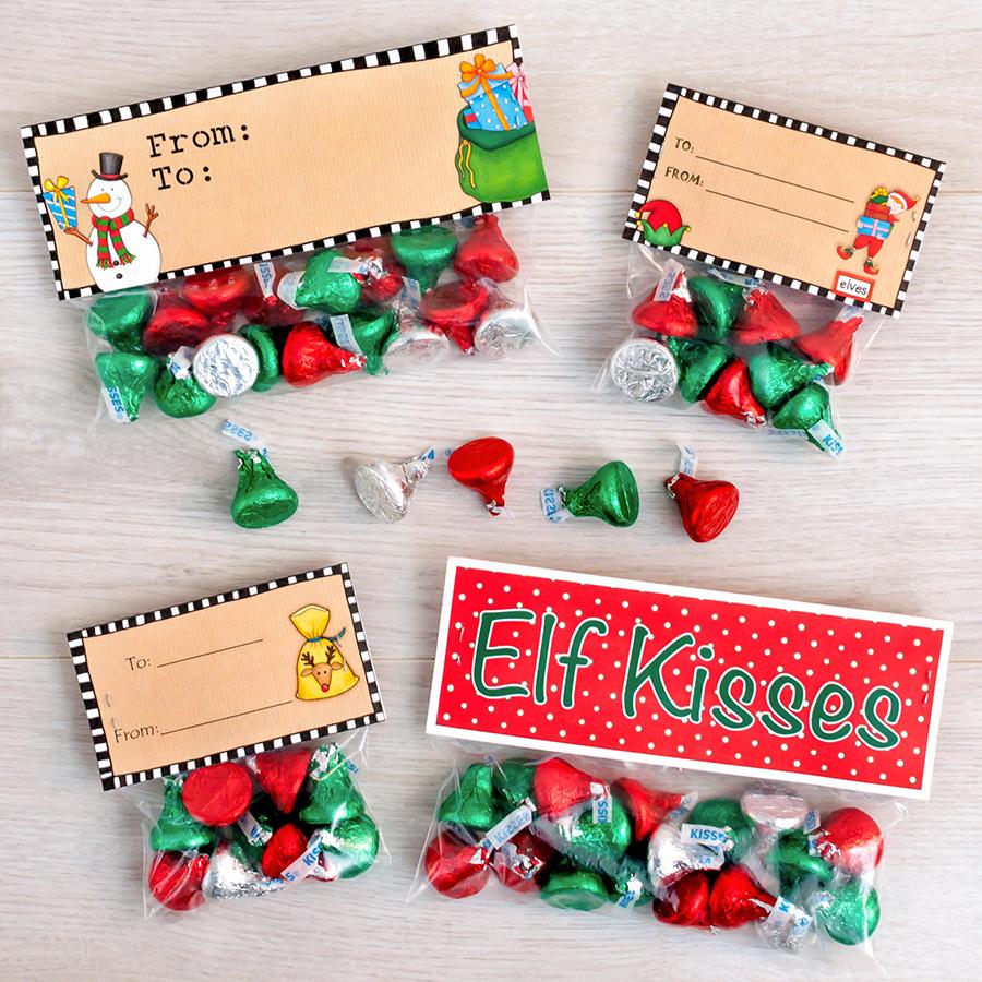 christmas elf kisses treat bags