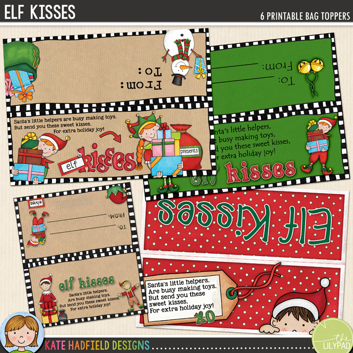 picture about Elf Kisses Printable named Totally free Elf Kisses bag toppers - Kate Hadfield Programs