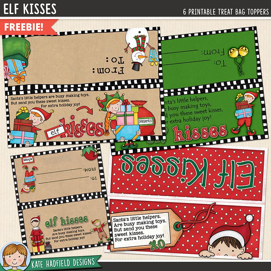 christmas elf kisses printable treat bags