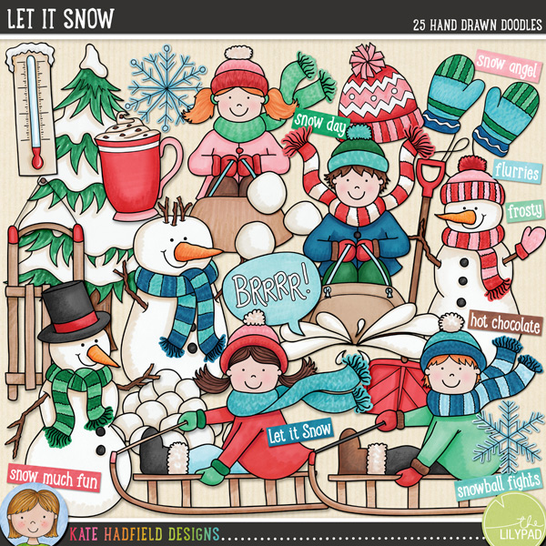 Let It Snow doodles by Kate Hadfield