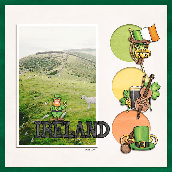 """Ireland 1998"" - St Patricks digital scrapbook layout 