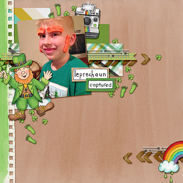 St Patricks digital scrapbooking page | St Patrick's Day scrapbook layout ideas | Kate Hadfield Designs Creative Team scrapbook page by Bethany