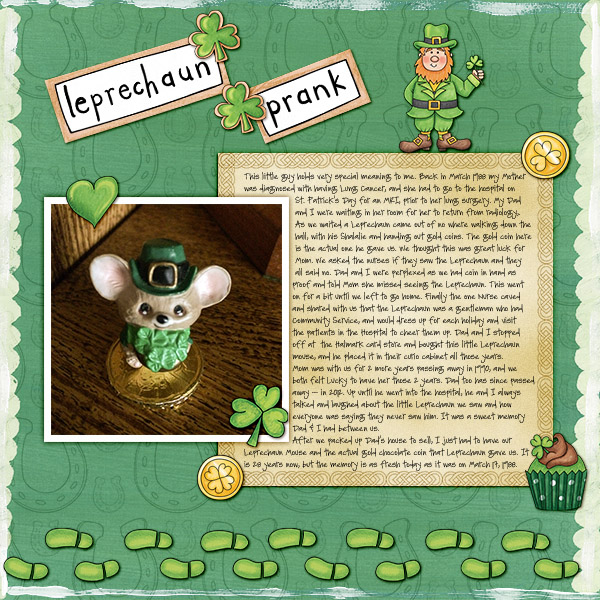 St Patricks digital scrapbooking page | St Patrick's Day scrapbook layout ideas | Kate Hadfield Designs Creative Team scrapbook page by Christa