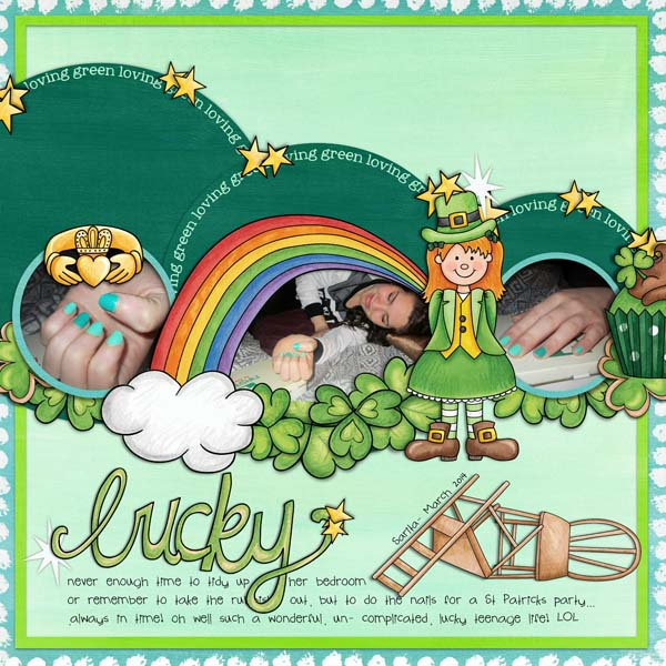 St Patricks digital scrapbooking page | St Patrick's Day scrapbook layout ideas | Kate Hadfield Designs Creative Team scrapbook page by Cynthia