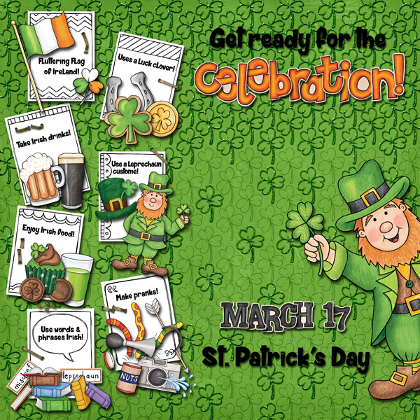 St Patricks digital scrapbooking page | St Patrick's Day scrapbook layout ideas | Kate Hadfield Designs Creative Team scrapbook page by Karen