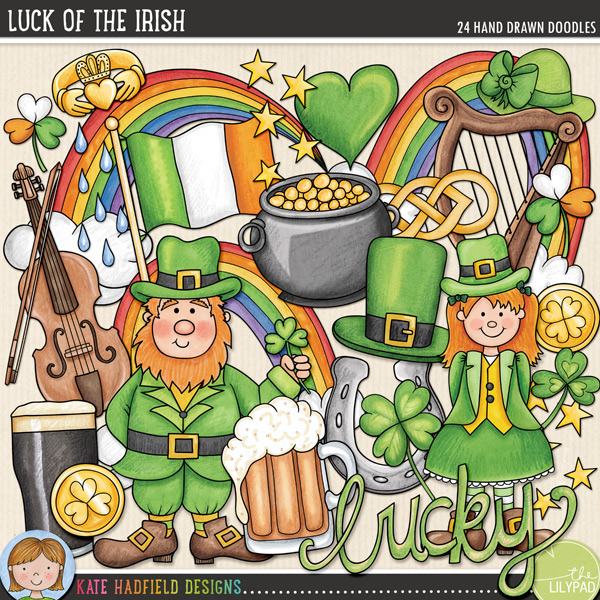 Luck of the Irish | St Patrick's Day digital scrapbooking elements / cute St Patrick's clip art! Hand-drawn doodles for digital scrapbookers, crafters and teachers from Kate Hadfield Designs!