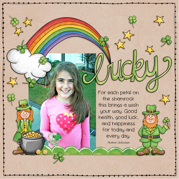 St Patricks digital scrapbooking page | St Patrick's Day scrapbook layout ideas | Kate Hadfield Designs Creative Team scrapbook page by Kirstie