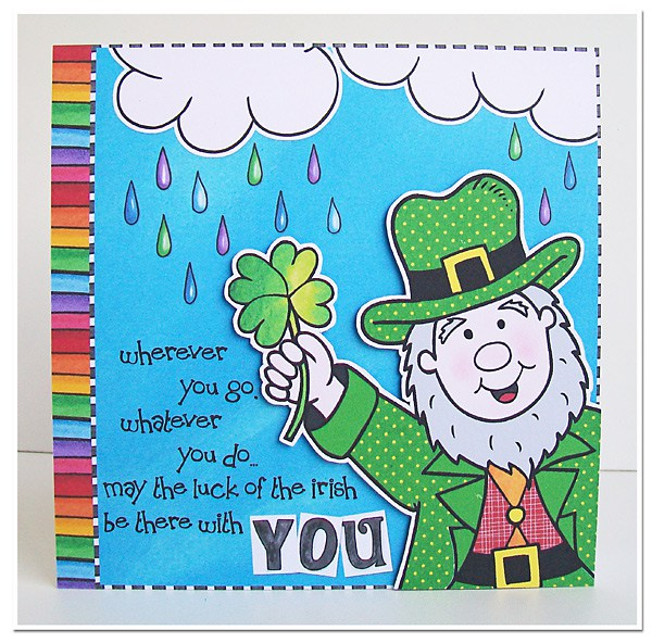 St Patricks card created with digital scrapbooking supplies | St Patrick's Day hybrid card ideas | Kate Hadfield Designs Creative Team scrapbook page by