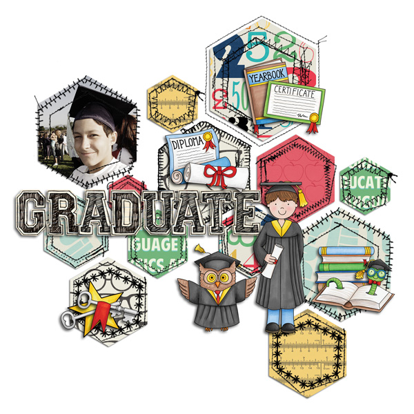 Graduation digital scrapbooking page | school scrapbook layout ideas | Kate Hadfield Designs Creative Team scrapbook page by Akizo