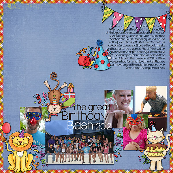 Part Animals digital scapbook page / birthday scrapbook layout ideas! Layout by Kate Hadfield Designs creative team member Bethany