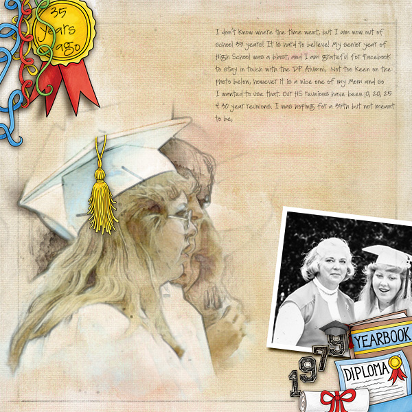 Graduation digital scrapbooking page | school scrapbook layout ideas | Kate Hadfield Designs Creative Team scrapbook page by Christa