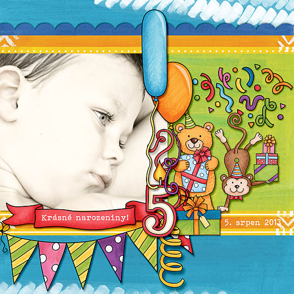 Part Animals digital scapbook page / birthday scrapbook layout ideas! Layout by Kate Hadfield Designs creative team member Dagi