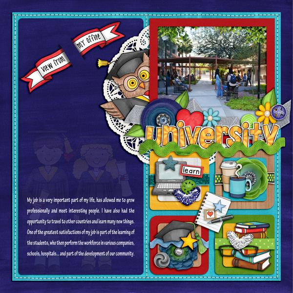 """University"" - Graduation digital scrapbooking page | school scrapbook layout ideas | Kate Hadfield Designs Creative Team scrapbook page by Karen"