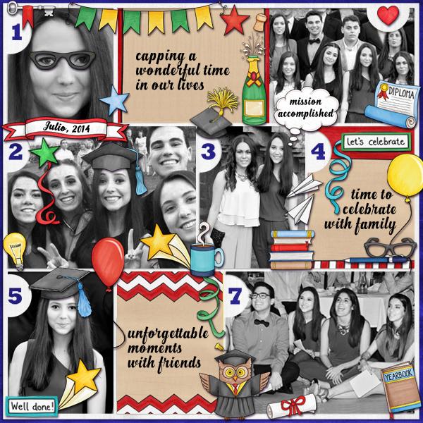Graduation digital scrapbooking page | school scrapbook layout ideas | Kate Hadfield Designs Creative Team scrapbook page by Karen