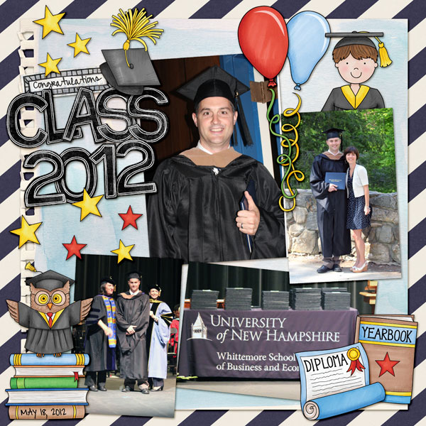 Graduation digital scrapbooking page | school scrapbook layout ideas | Kate Hadfield Designs Creative Team scrapbook page by Nicole