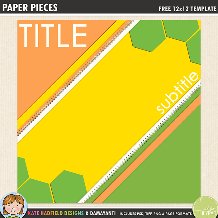 Free Digital Scrapbooking template – Paper Pieces - Kate