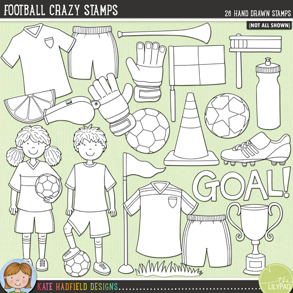 Football Crazy Stamps by Kate Hadfield