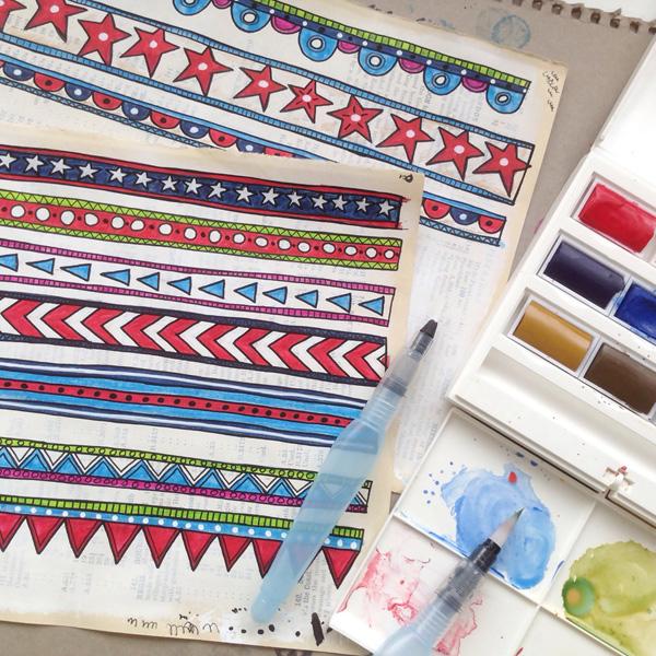 Kate Hadfield Joodle Strips work in progress