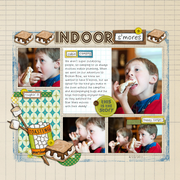 Summer Camp - digital scrapbooking layout from Kate Hadfield Designs creative team member Becky
