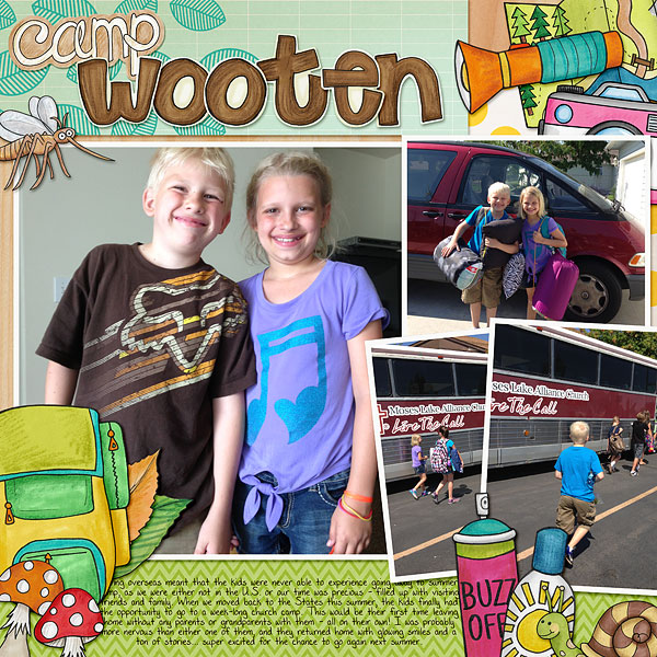 Summer Camp - digital scrapbooking layout from Kate Hadfield Designs creative team member Bethany