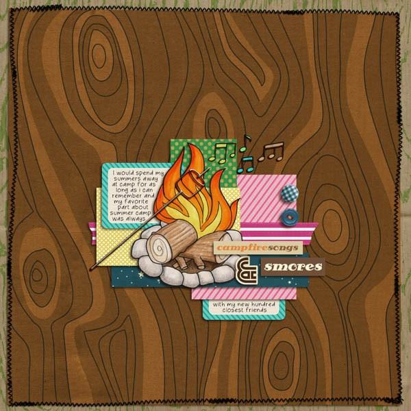 Summer Camp - digital scrapbooking layout from Kate Hadfield Designs creative team member Heather