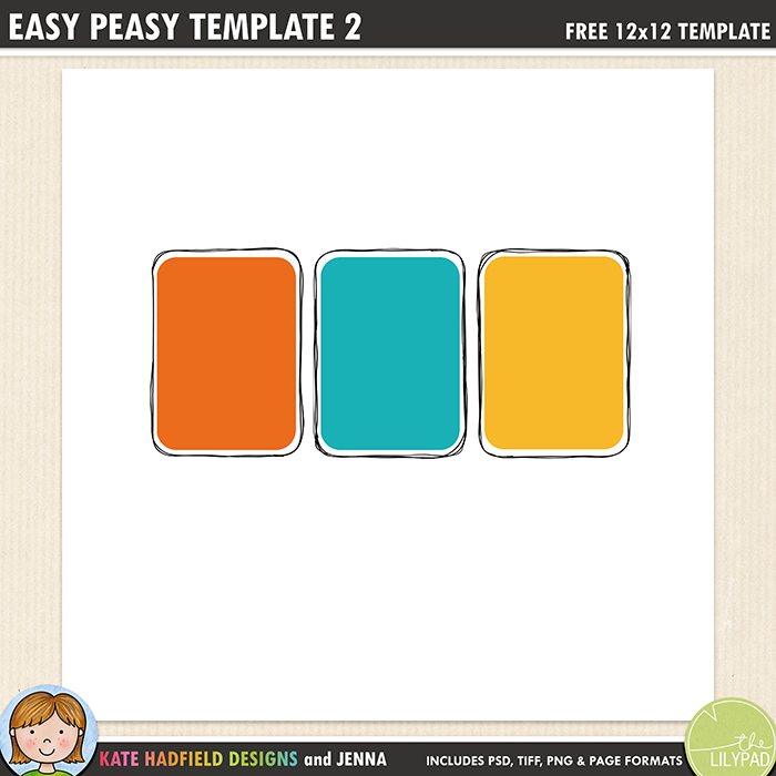 Easy Peasy 2 - Free digital scrapbooking template / scrapbook sketch from Kate Hadfield Designs! Free download contains PSD, Tiff, png and page file formats.