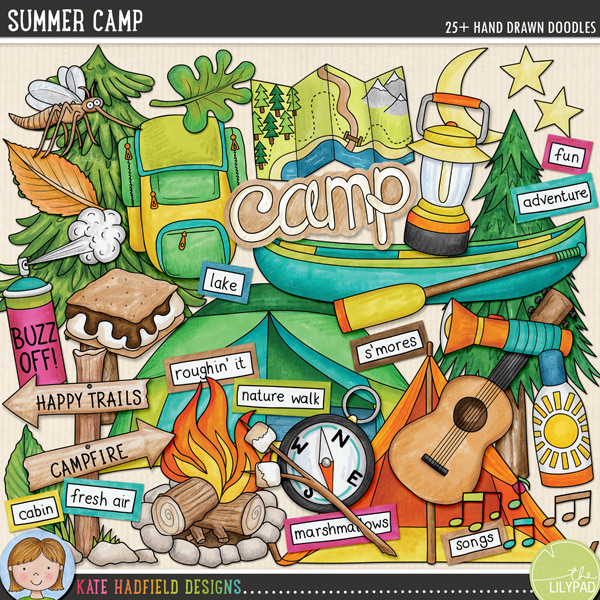 Summer camping digital scrapbooking elements | Cute summer camp clip art | Hand-drawn doodles for digital scrapbooking, crafting and teaching resources from Kate Hadfield Designs!