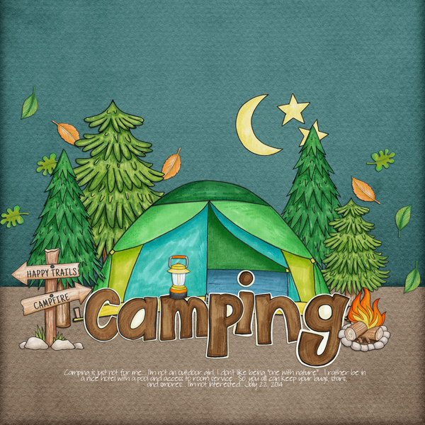 Summer Camp - digital scrapbooking layout from Kate Hadfield Designs creative team member Rebecca