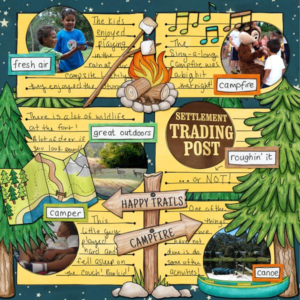 Summer Camp - digital scrapbooking layout from Kate Hadfield Designs creative team member Stephanie