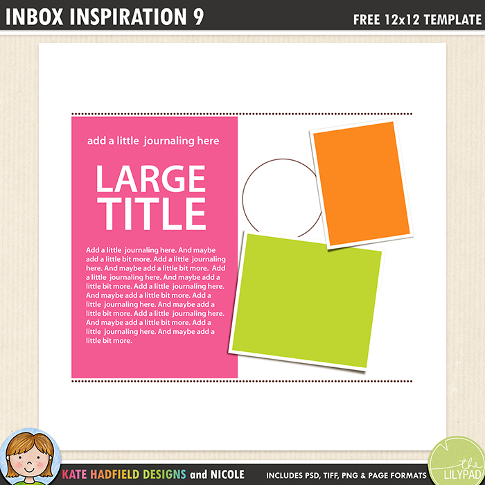 Inbox Inspiration 9 - Free digital scrapbooking template / scrapbook sketch from Kate Hadfield Designs! Free download contains PSD, Tiff, png and page file formats.