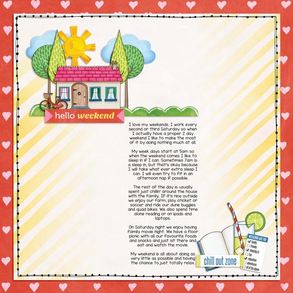 Weekend at Home digital scrapbooking page | scrapbook layout ideas | Kate Hadfield Designs creative team layout by Kirstie