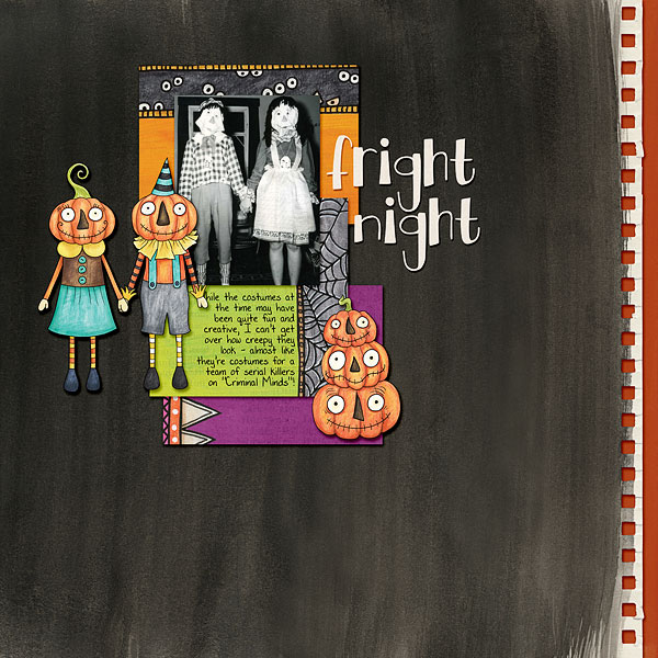 Halloween scrapbooking ideas! Halloween digital scrapbook layout by Kate Hadfield Designs creative team member Bethany