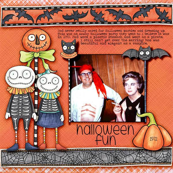 Halloween scrapbooking ideas! Halloween digital scrapbook layout by Kate Hadfield Designs creative team member Christa