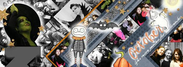 Halloween scrapbooking ideas! Halloween digital scrapbook layout by Kate Hadfield Designs creative team member CYnthia