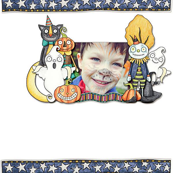 Halloween scrapbooking ideas! Halloween digital scrapbook layout by Kate Hadfield Designs creative team member Dagi