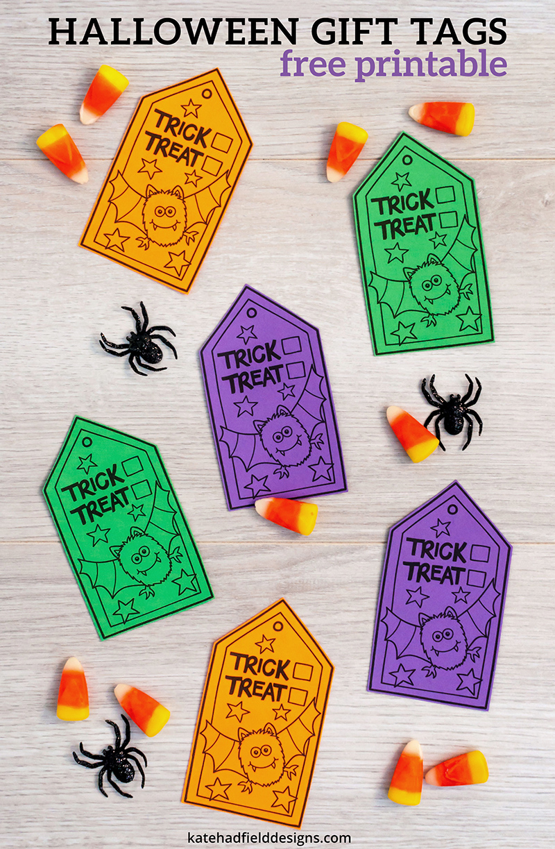 Colour-In Trick or Treat gift tags – fun Halloween gift tags to print and colour! Make your own tags by printing onto white paper and colouring in! Or print onto coloured paper, then just cut out for instant tags! Free printable from Kate Hadfield Designs.
